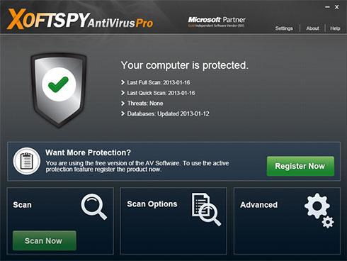 XoftSpySE Anti Spywareのスクリーンキャプチャ