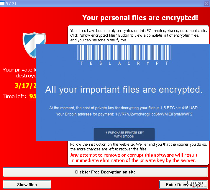 Warning messages that are caused by TeslaCrypt ransomware