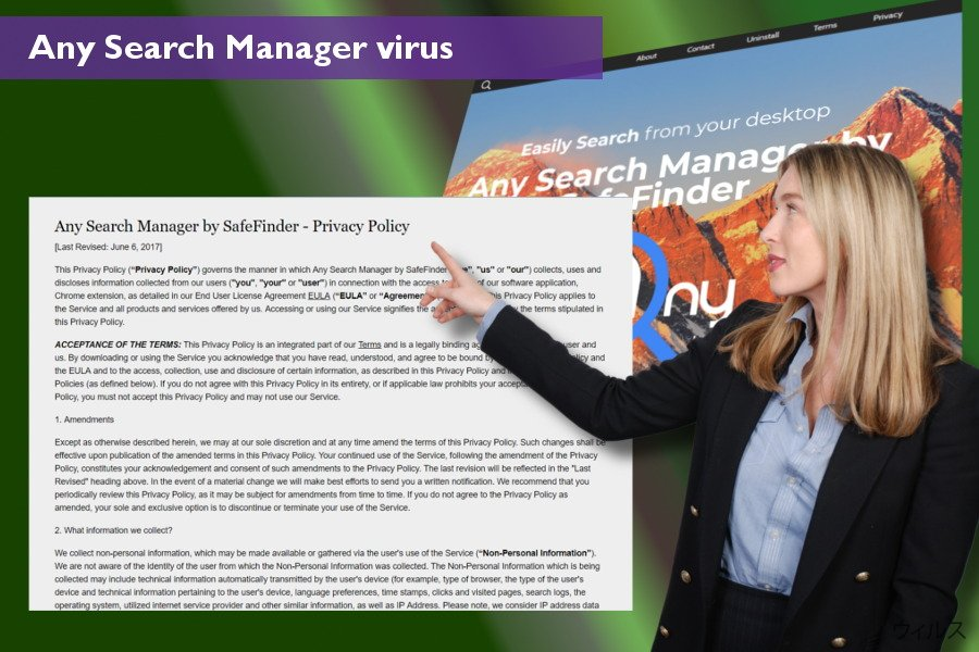 Any Search Manager ウィルスがウェブ・ブラウザ上で行う変更