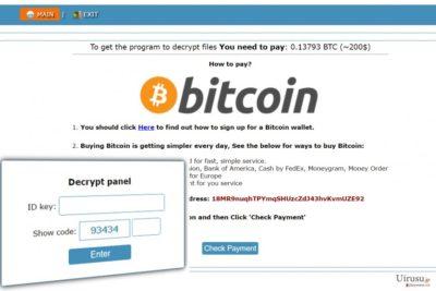 Cry128 ランサムウェアの作成者への身代金の支払方法の指示が書かれている Onion のウェブサイト