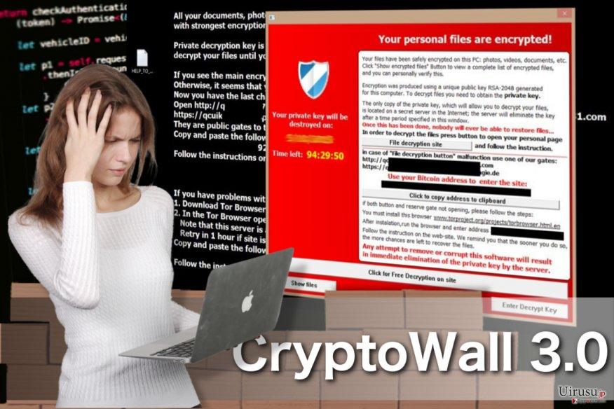 CryptoWall 3.0ウイルスのスクリーンキャプチャ