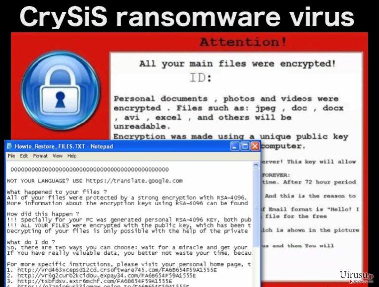 CrySiS ransomware ウィルスのスクリーンキャプチャ