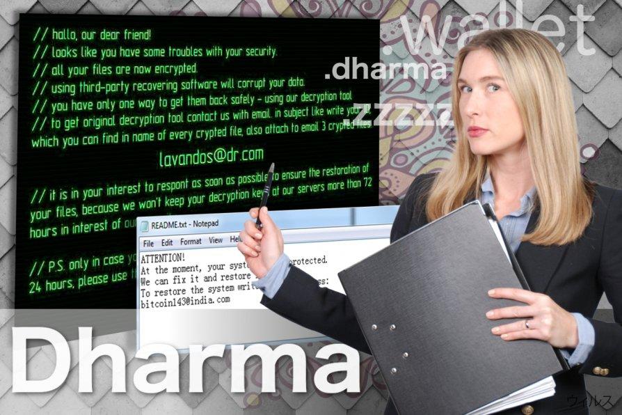 Dharma ランサムウェア・ウィルスのスクリーンキャプチャ
