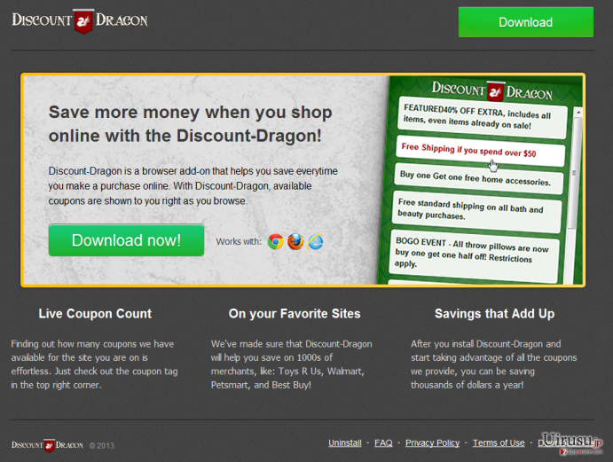 Discount Dragon広告ウィルスのスクリーンキャプチャ