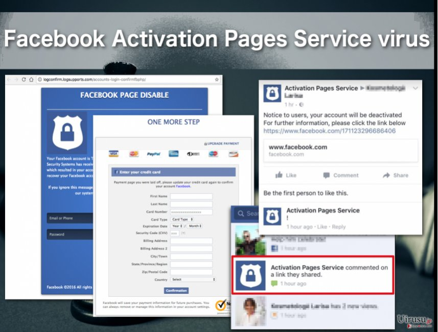 Facebook Activation Pages Service virus illustration