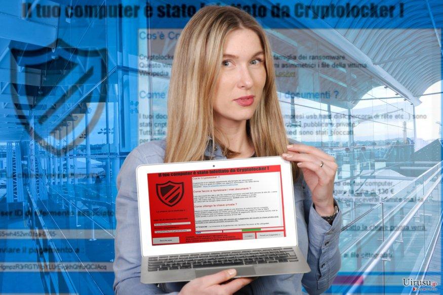Il tuo computer e stato infettato da Cryptolocker のロック・スクリーンのイメージ