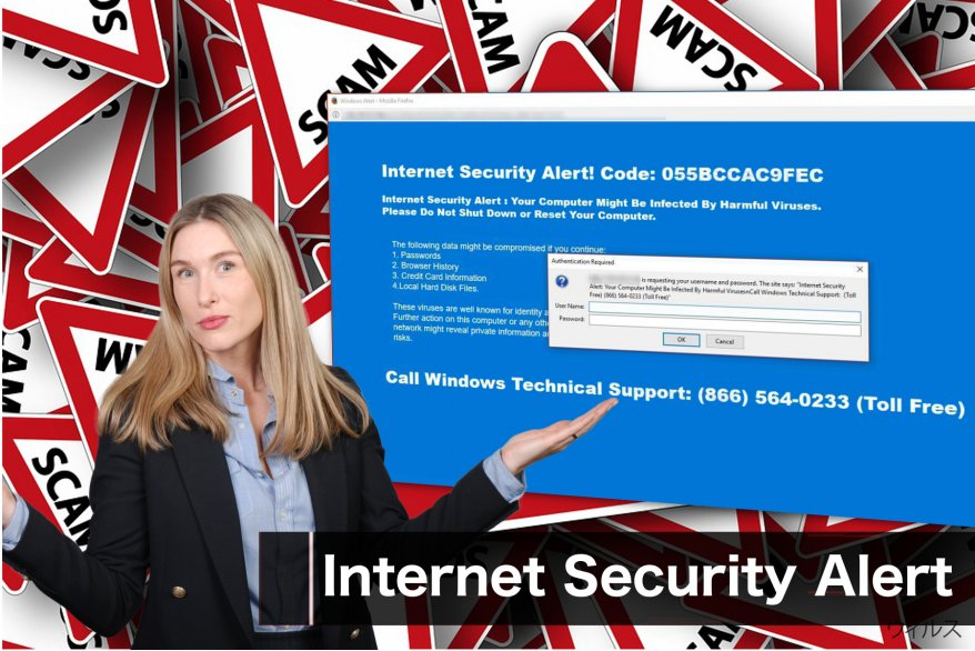 """Internet Security Alert"" 詐欺のメッセージ"