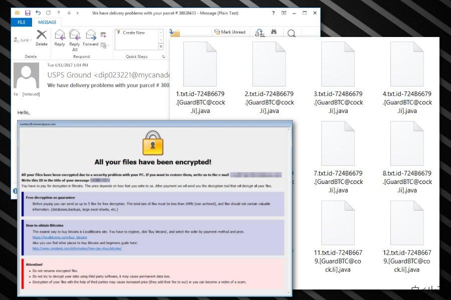 .java ファイル拡張子ランサムウェアのスクリーンキャプチャ