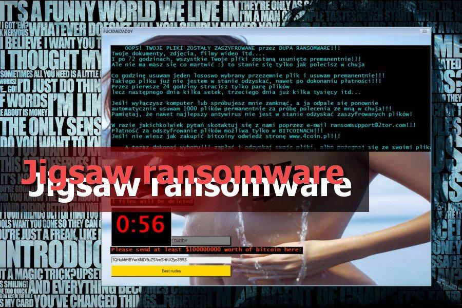 Jigsaw ランサムウェア・ウィルスのスクリーンキャプチャ