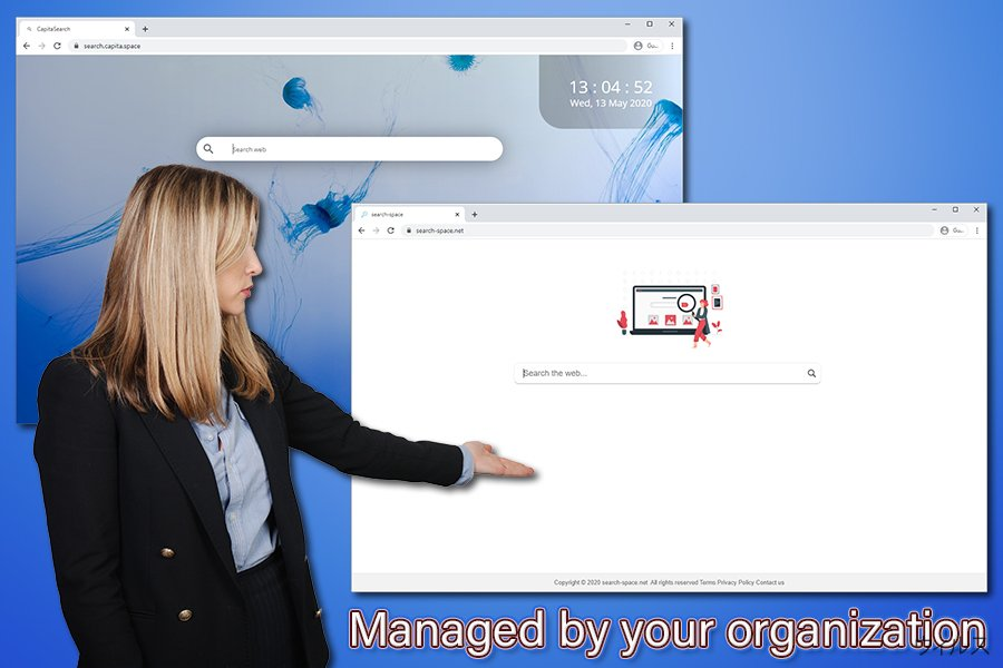 Managed by your organization の通知