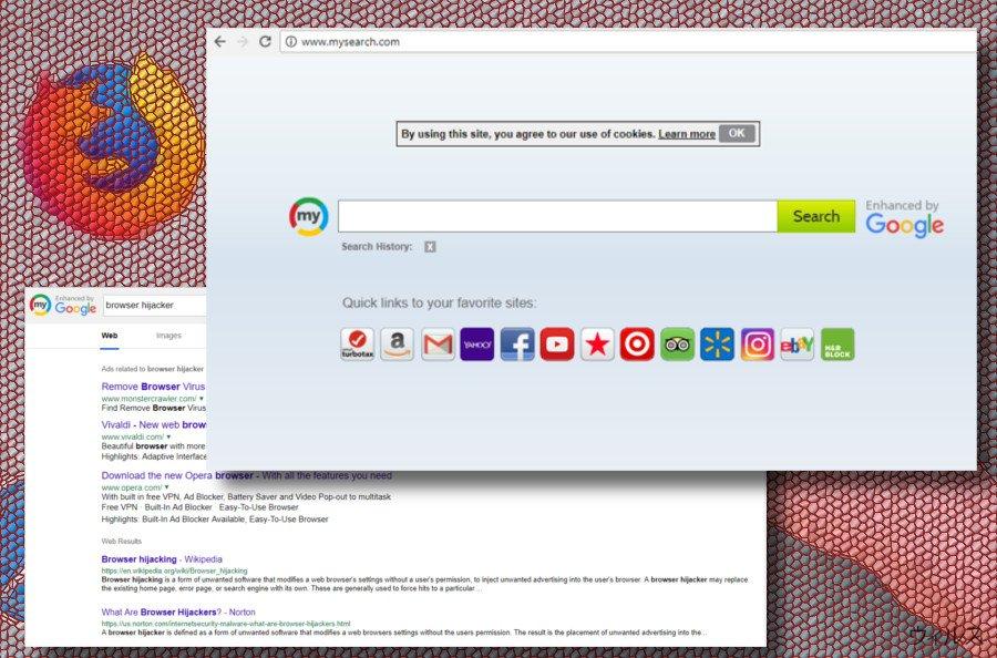 Mysearch ブラウザ・ハイジャッカーの画面印刷