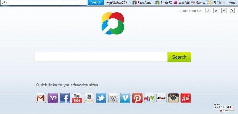 MyWebFace toolbarのスクリーンキャプチャ