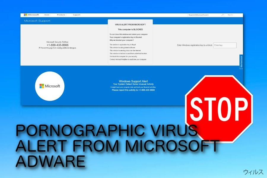 PORNOGRAPHIC VIRUS ALERT FROM MICROSOFT ポップアップ詐欺