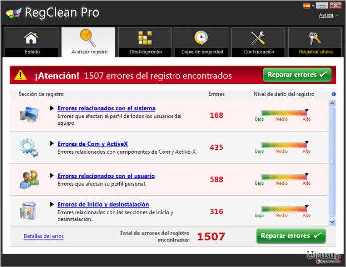 RegClean Proのスクリーンキャプチャ