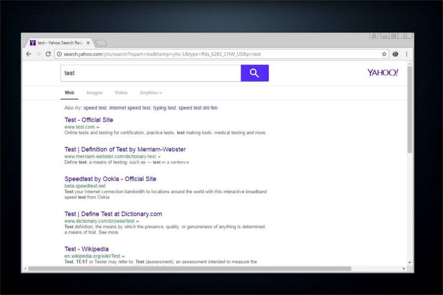search.yahoo.com リダイレクトのスクリーンキャプチャ