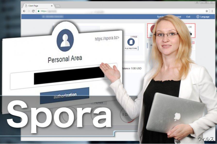 Spora ランサムウェア・ウィルスのスクリーンキャプチャ