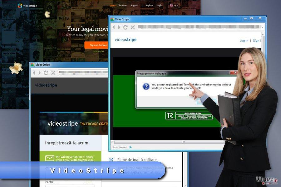 VideoStripe ポップアップ広告の例