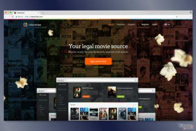 VideoStripe ウェブ・サイトのスクリーンショット
