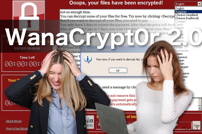 WanaCrypt0r 2.0 ウィルスのイメージ