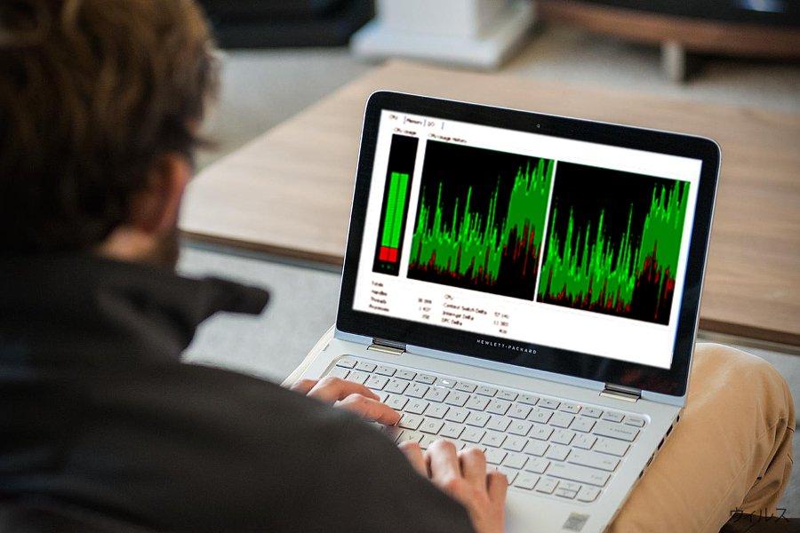 Win32.CoinMiner の CPU の使用率を示す写真