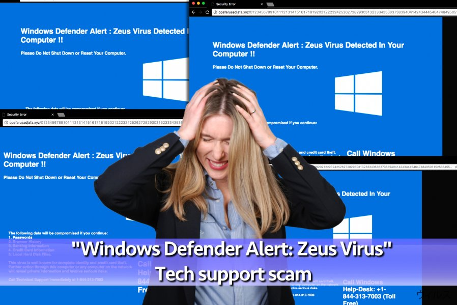 「Windows Defender Alert: Zeus ウィルス」Tech support scam ウィルス