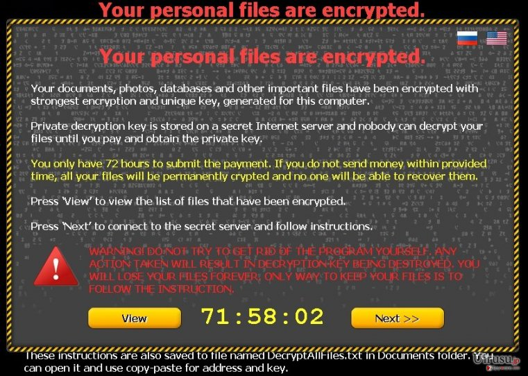 Your personal files are encrypted ウィルスのスクリーンキャプチャ