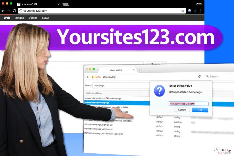 YourSites123.com ウィルスのスクリーンキャプチャ