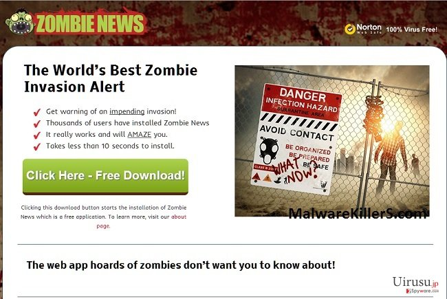 Zombie Newsアドウェアのスクリーンキャプチャ